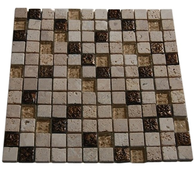 Marble and Metal Fusion Mosaic Tiles