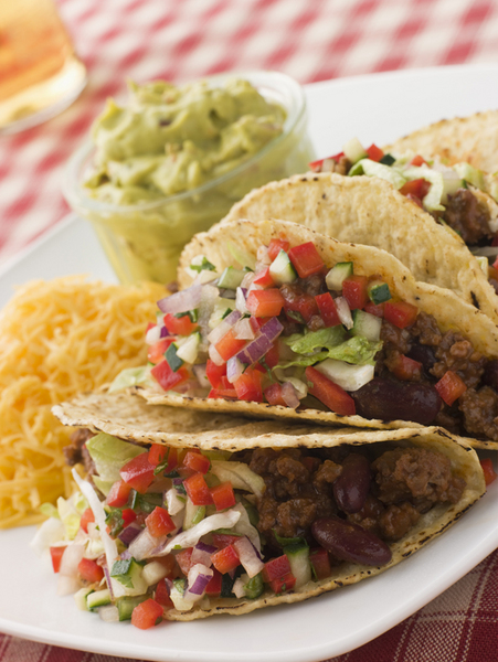 Beef Tacos with Cheese Salad and Guacamole