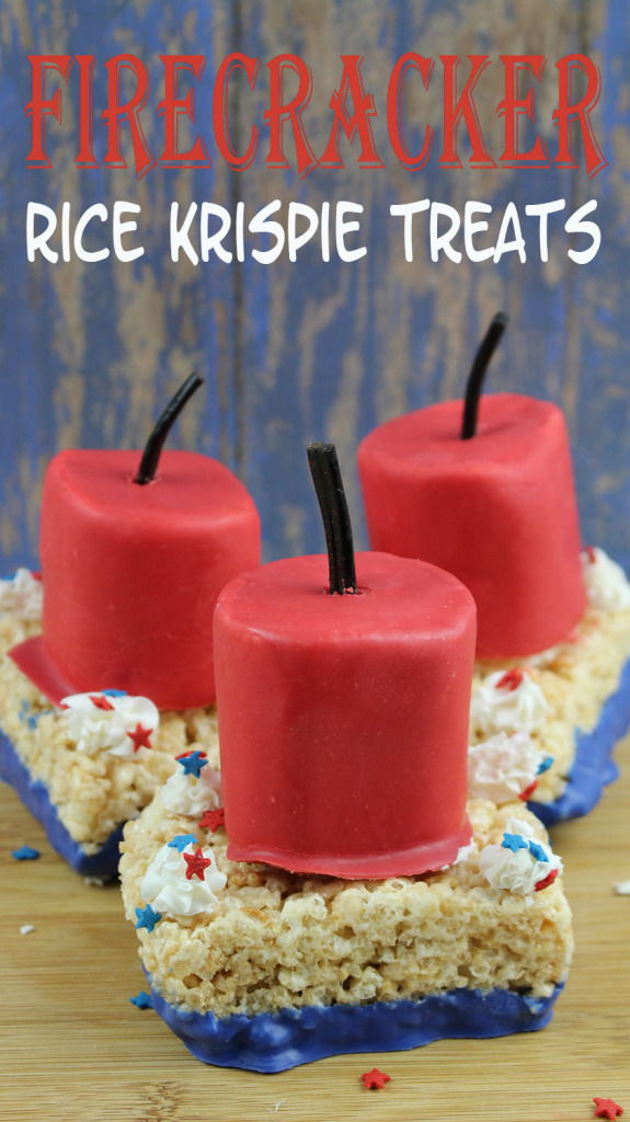 Firecracker Rice Krispie Treat Bars