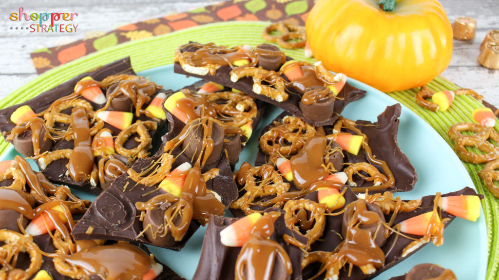 Halloween Candy Corn Rolo Pretzel Bark Recipe