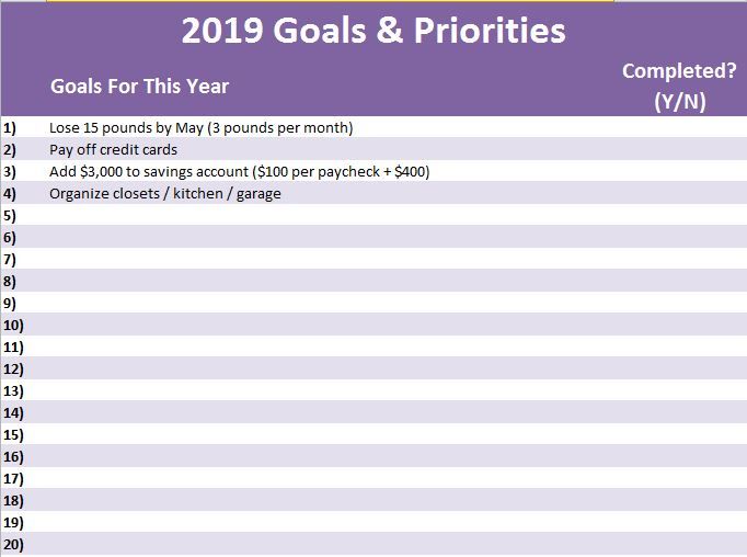 Forget Resolutions! Free 2019 Goals & Priorities Planner