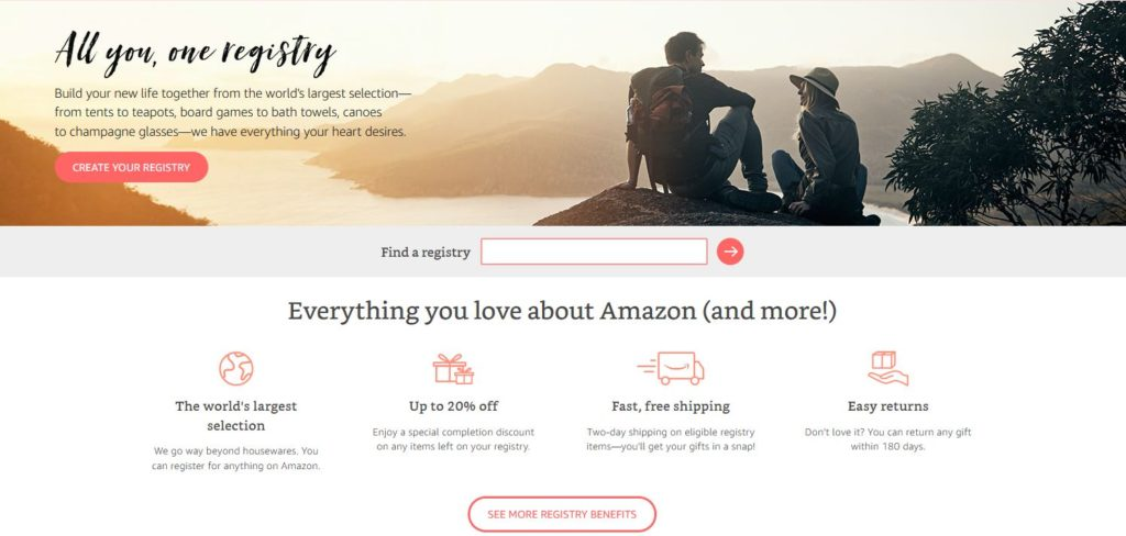 By creating a registry on Amazon you can select from an endless selection of products that goes far beyond housewares all in one place – from tents and ...