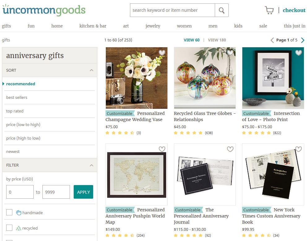 Lots of Unique Gift Ideas at Uncommon Goods!